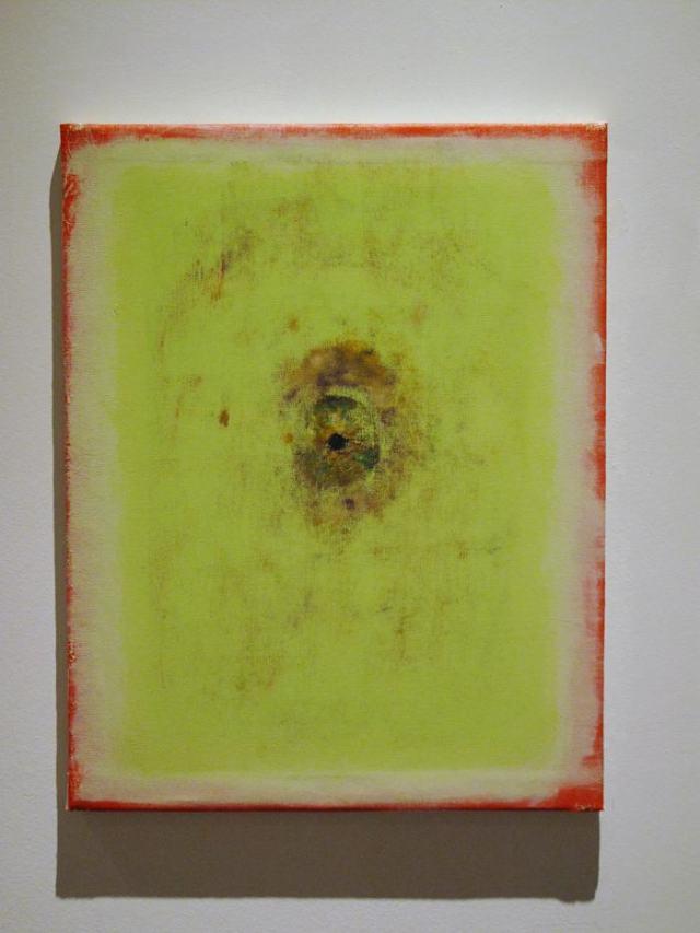 Silvia Gurfein, La ceguera táctil del cerebro frente al cráneo o La psique está extendida, no sabe nada de ello, óleo sobre tela, 61 x 44 cm, 2013. De la exposición Lo intratable, Fundación Klemm, 2013.